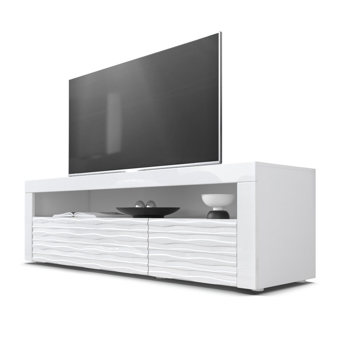 Front White High Gloss Harmony With 3d Structure TV Unit Vladon TV Stand Unit Valencia, Carcass in White matt Front in White High Gloss Element with a milled 3D Structure and frames in White High Gloss