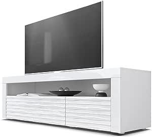 Mesa Baja para TV Valencia, Cuerpo en Blanco Mate/Frentes en Blanco de Alto Brillo con Estructura 3D Armonía y Marco ...