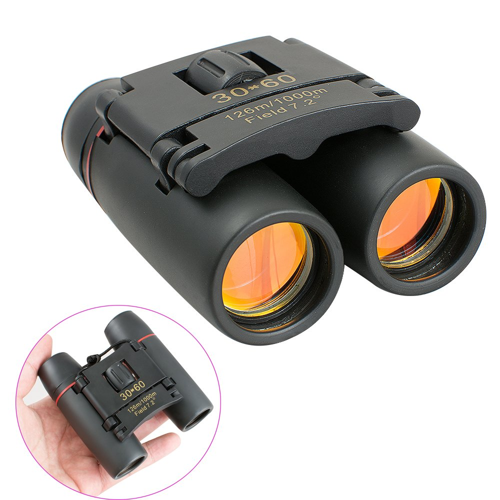 Carejoy Day and Low-Light Night Vision 30x60 Binoculars Folding Pocket Portable Zoom Telescope for Outdoor Travel, Sightseeing