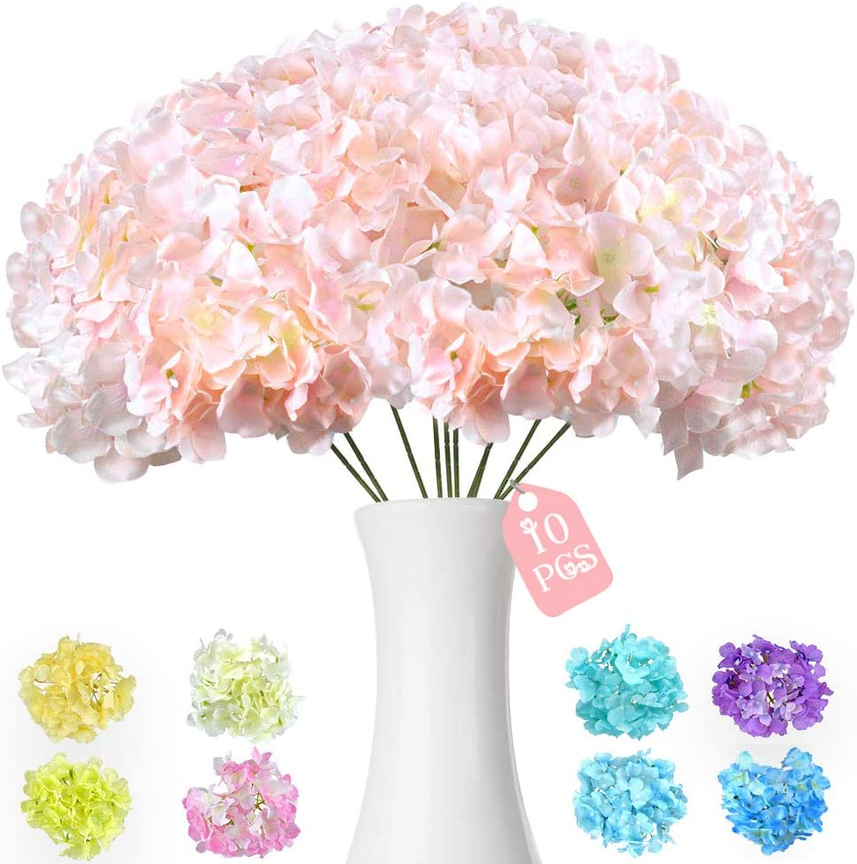 10PCS Pink Artificial Hydrangea Silk Flowers Heads with Long Stems Blush Fake Flowers Head Bulk with Arrangements Wedding Centerpieces Bouquets DIY Floral Decor Home Decoration