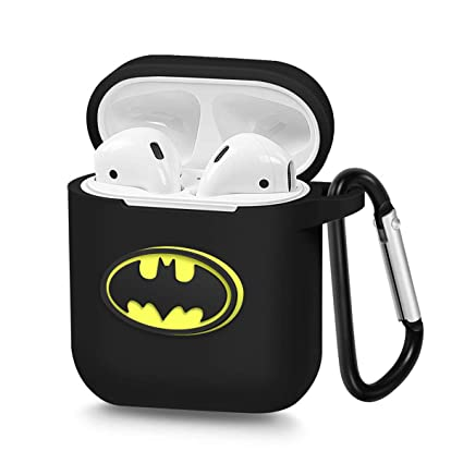 new concept b779d 19dcc Pocoolo Airpods Case Airpods Accessories Protective Silicone Cover and Skin  with Carabiner for Apple Airpods Charging Case (Batman)