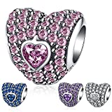Ronglai Jewelry Sterling Silver Love Heart Bead Charm Pink Crystal Birthstone CZ Charms fit Snake Chain Bracelet 4 Styles (Pink birthstones charm)