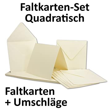 Quadratische Karten Inklusive Briefumschläge | 50er Set | Blanko  Einladungskarten In Creme Weiß |