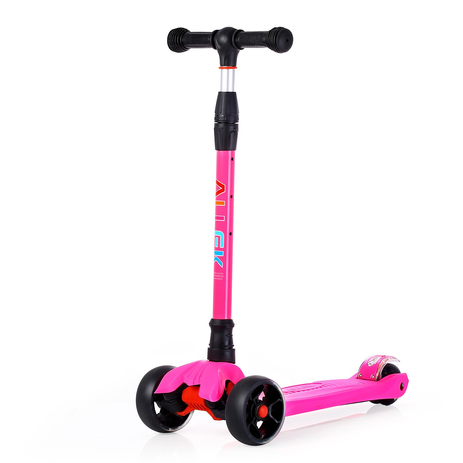 Allek Kick Scooter, 3-Wheeled Lean 'N Glide Scooter with PU Light-Up Wheels and 4 Adjustable Heights for Children from 3-14yrs (Pink)