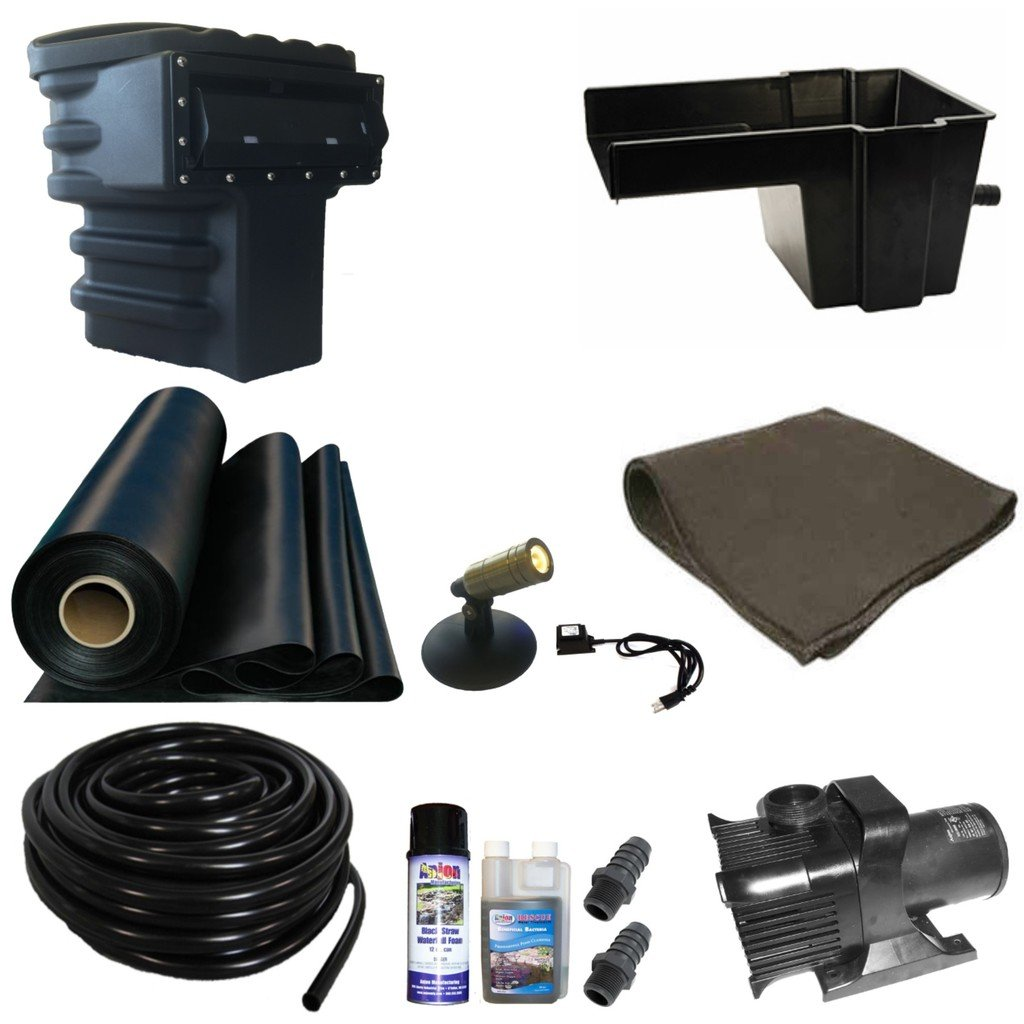 Patriot 8 x 10 Pond Kit X8-6 Anjon Skimmer and 8 Inch Waterfall 1200 GPH Pump