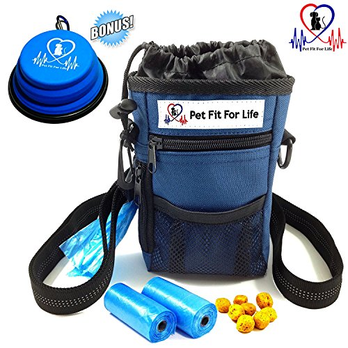 Pet Fit For Life Dog Treat Training Pouch Poop Bag Dispenser Ball Toy Holder w/Bonus 2 Rolls Waste Bags Adjustable Strap For Waist Or Over the Shoulder 2 Zippered Pockets And Drawstring Inner Pouch