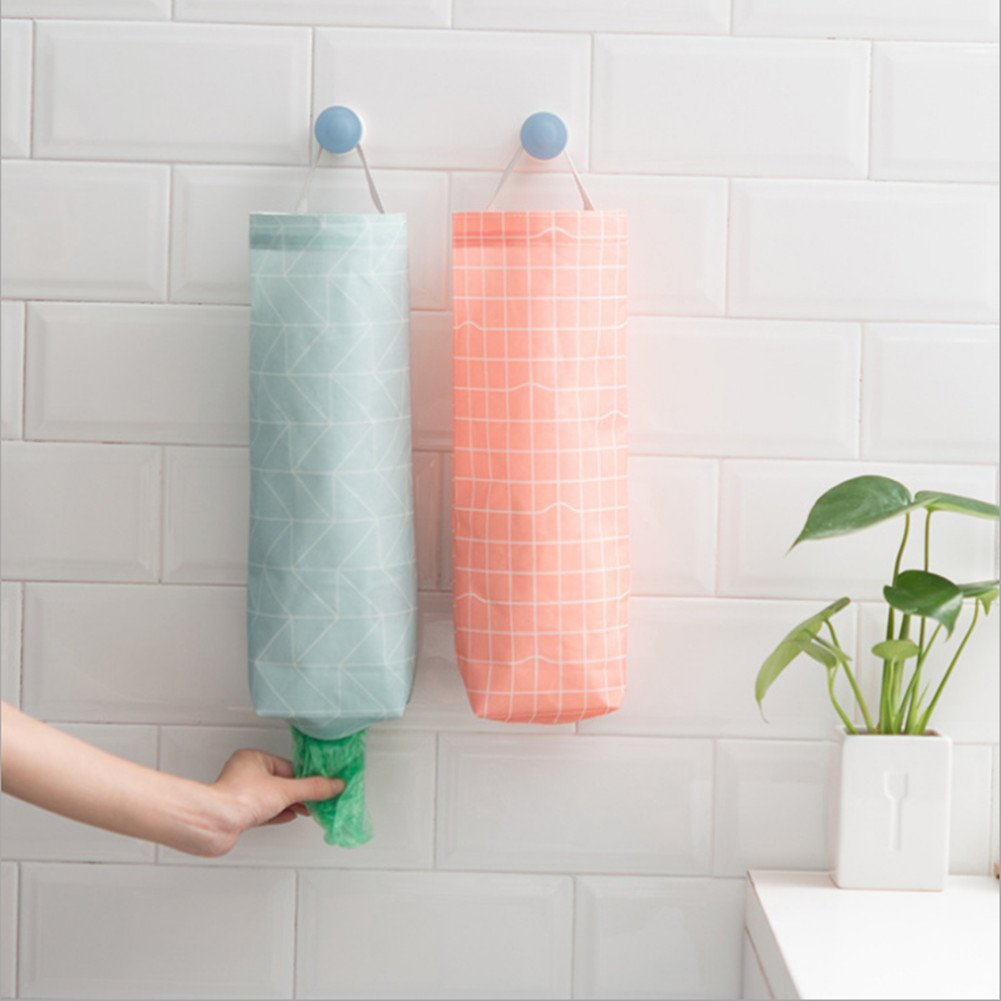 AKINLY Plastic Bag Garbage Bag Holder Waterproof Wall Mount Grocery Bag Dispenser Garbage Bag Organizer for Home Office Kitchen, Set of 2 (color 2)