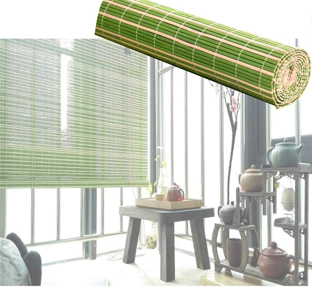 Wyan Bamboo Blinds Light Filtering Window Roller Shades Japanese Style Office Sun Shade Corded Woven Wood Curtain 52 Sizes Color A Size 95x100cm Amazon Co Uk Kitchen Home