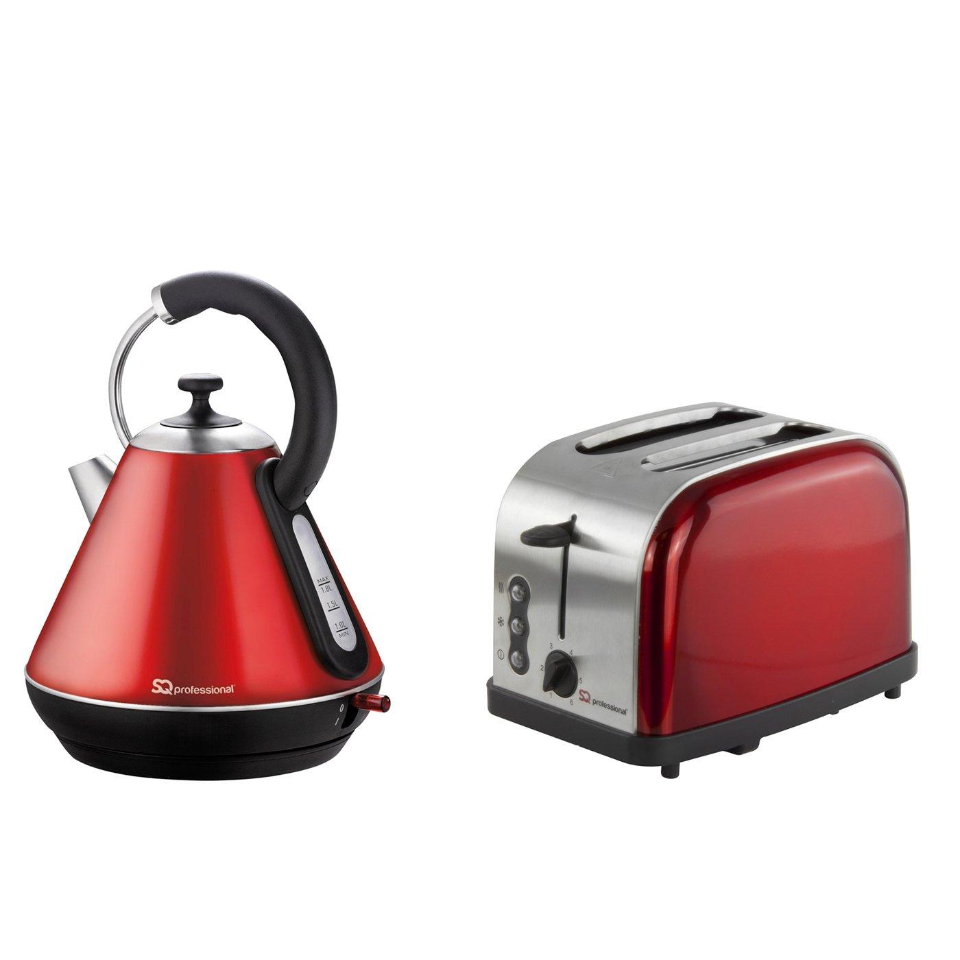 Set di bollitore elettrico e tostapane, acciaio inossidabile - Rosso SQ PRO Others