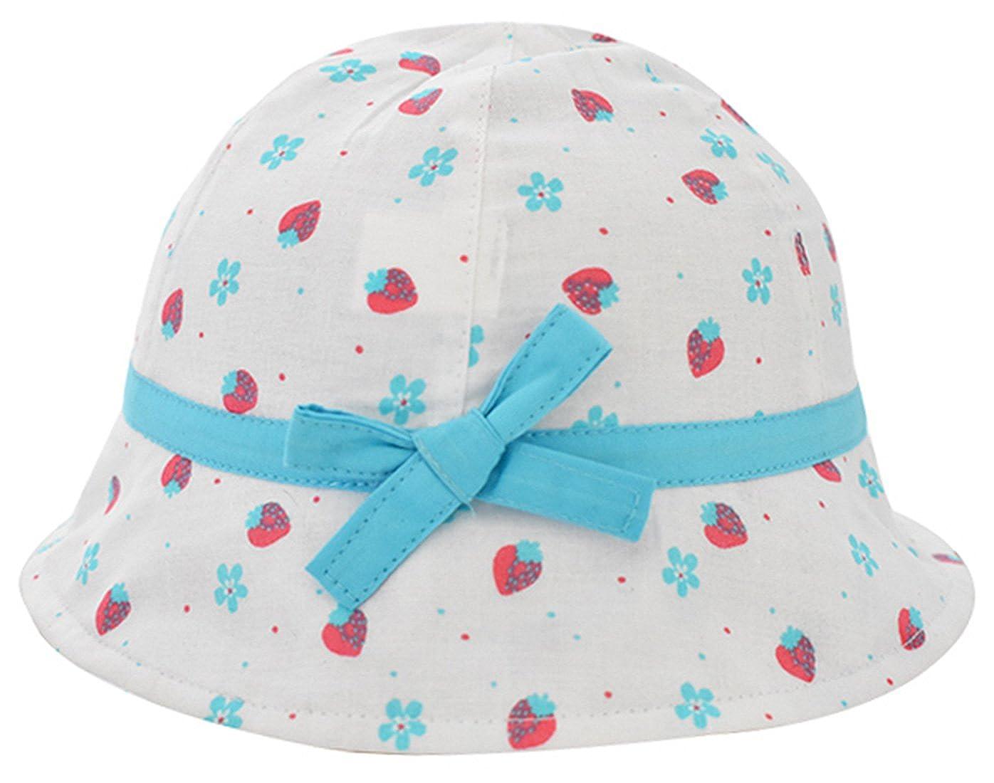 Happy Cherry Chapeau B/éb/é Fille en Coton Anti UV /à Motif Cerise Fraise Bob Mignon de Bord Large Soleil Protection Ext/érieur de Plage Respirant Doux Confortable pour 0-4 Ans