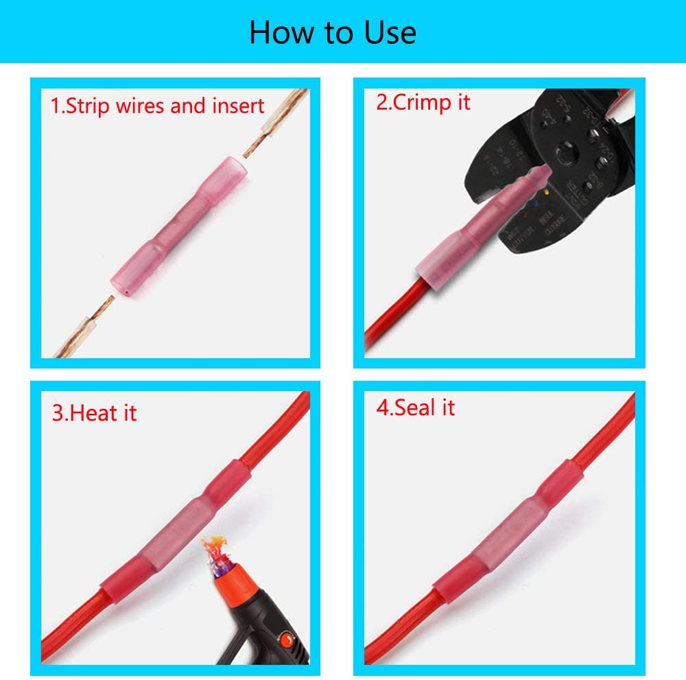 ESUPPORT DIY 240Pcs Heat Shrink Wire Connector Kit Waterproof Electrical Crimp Automotive Terminals Set Insulated Ring Fork Hook Spade Butt Assortment