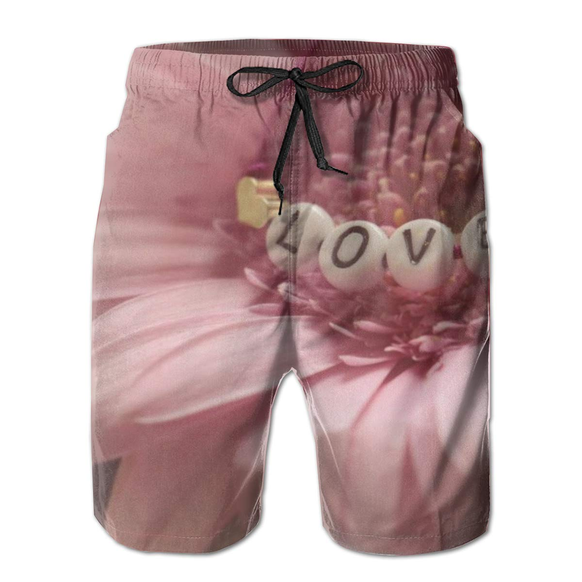 Leisue Pink Petals Love Closeup Quick Dry Elastic Lace Boardshorts Beach Shorts Pants Swim Trunks Mens Swimsuit with Pockets