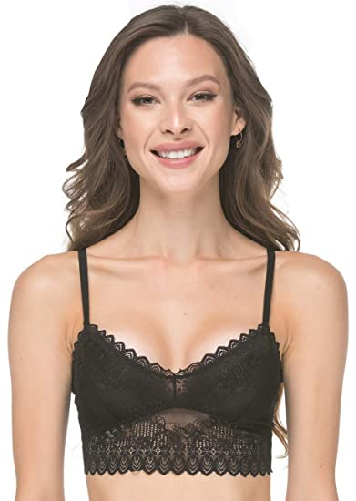 50fa0a9d59f90 Modern Boho Long Line Bralette (for A-C Cups) with Lace Black Small Wireless  Bra