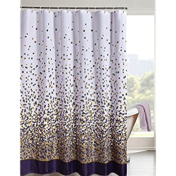 brown and white shower curtain. LanMeng Confetti Design Fabric Shower Curtain Mildew Resistant Waterproof  Water Repellent and Antibacterial Amazon com Maytex Sylvia Printed Faux Silk