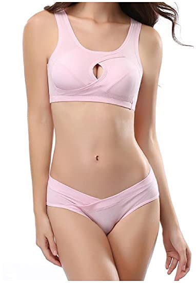 443df5b4bba Abetteric Women Cozy Non Underwired Pure Hollow Cotton Soft Bra Panties Set  Pink L at Amazon Women's Clothing store: