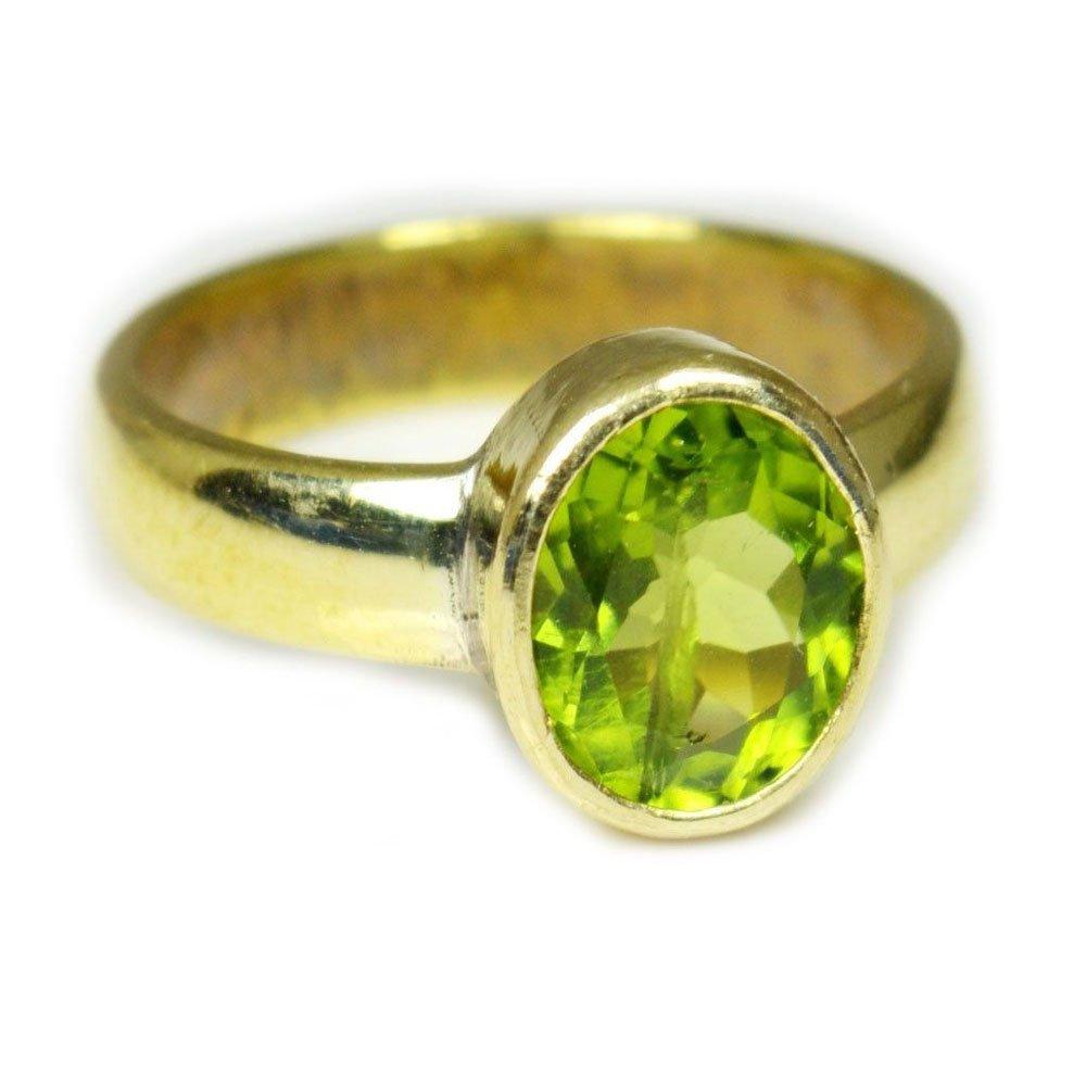 Jewelryonclick 3 Carat Gemstone Natural Peridot Panchdhatu Alloy Ring In Size US 5,6,7,8,9,10,11,12,13