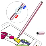 LIBERRWAY Stylus Pen Disc Stylus Fiber Stylus with Magnetically Attached Cap, Fits for Universal Touch Screens, Rosegold