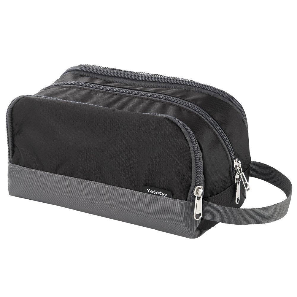 Black Toiletry Bag for Kids, Yeiotsy Light Shaving Bag Wash Bag for Men Small Nylon Toiletry Organizer for Camping Hiking Black