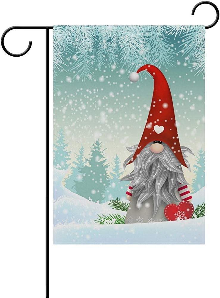 "Holiday Christmas Small Garden Flag 13/"" x 18/"" Decor Gift Red Green Snowflakes"