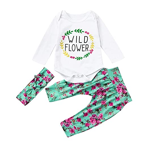 4e45e01fe22a Amazon.com  LNGRY Newborn Infant Baby Girl Clothes Set Letter Print ...