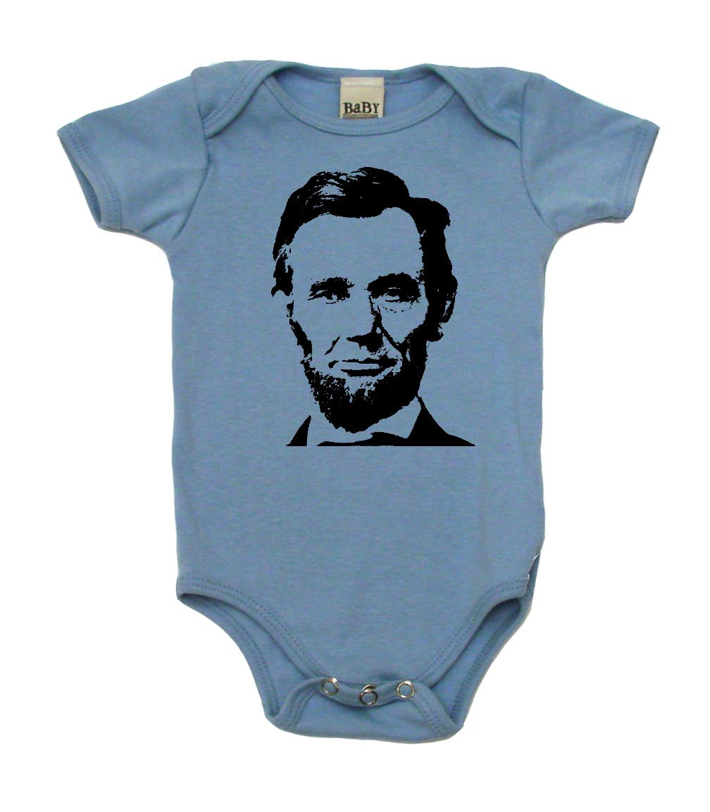 Abraham Lincoln Baby Bodysuit, 3-6 mo, Baby Blue