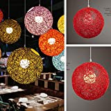 ETbotu 15cm Rattan Ball Lamp Holder Light Case Hanging Pendant (No Light Source) with E27 Suspension Wire & Round Sucking Disk