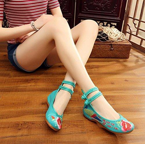 ZLL Gestickte Schuhe, Sehnensohle, ethnischer Stil, weibliche Tuchschuhe, Mode, bequem, lässig innerhalb der Zunahme Green