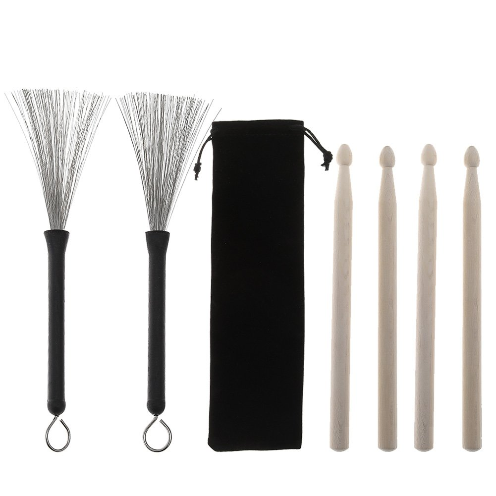 Loving Home 2 Pair Drum Sticks Classic Maple Wood Drumsticks Sets and 1 Pair Drum Wire Brushes Retractable Drum Sticks Brush with 1 Storage Bag