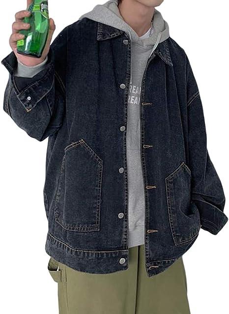 Aisaidunジャケット メンズ 長袖 折り襟 ゆったり コート メンズ デニムジャケット 秋 コート ジャンパー ブルゾン 韓国風 ファッション カジュアル Gジャン 通勤 通学 かっこいい お出掛け