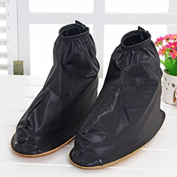 Benran Rain Shoe Covers Shoes Overshoes Boot Gear Zippered Shoes for Men  and Women (Black