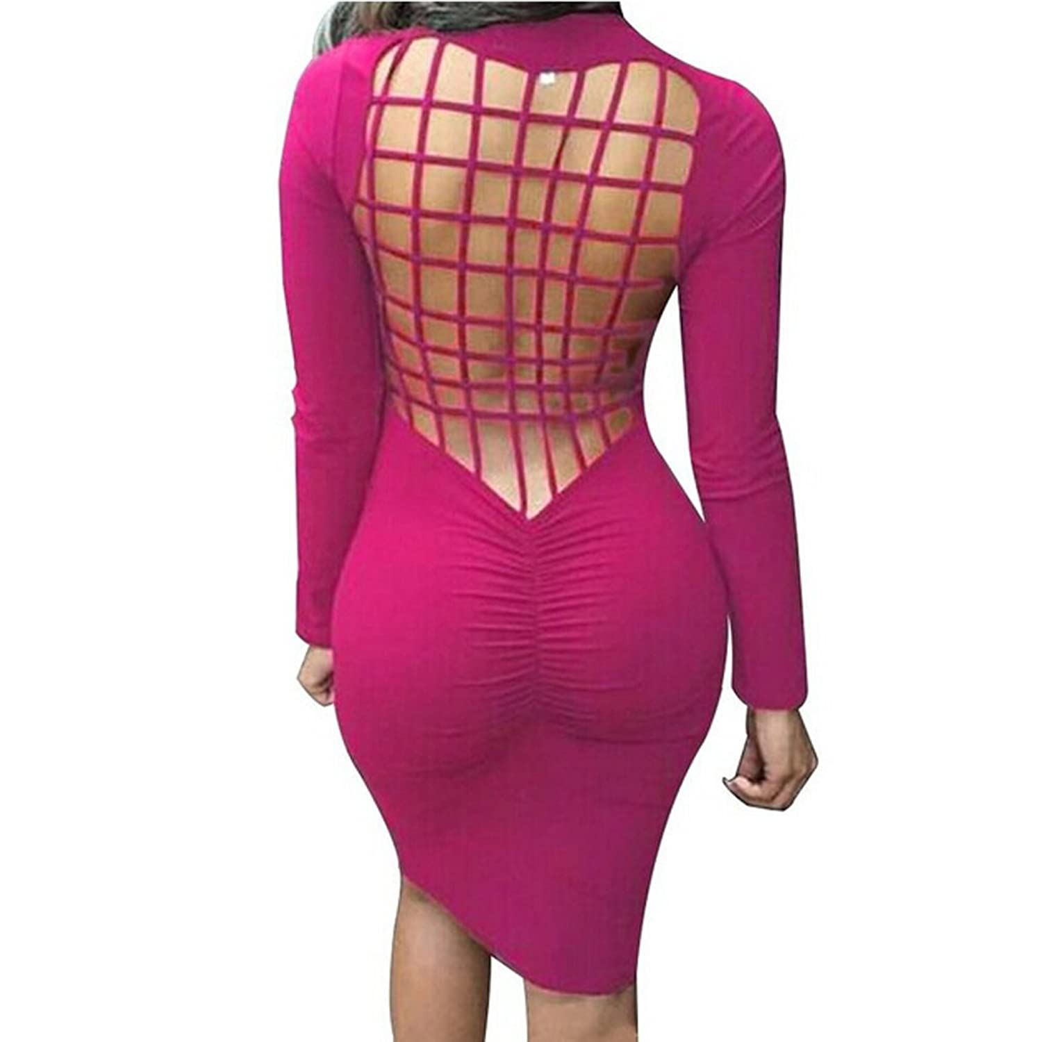 Laiyuan Womens Sexy Back Mesh Cross Stretch Bodycon Bandage Party Evening Dresses