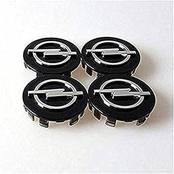 fanlinxin 4 Piezas 58 mm Negro Logo Opel Coche Emblema de la Rueda Centro Hub tapón de la Rueda Cubierta de la Insignia del Coche: Amazon.es: Coche y moto