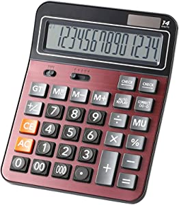 Financial Professional Standard Calculators,Large Calculator,Office/Business/Scientific Desktop Calculator with 14-Digit Large Display, Solar and AAA Battery Dual Power
