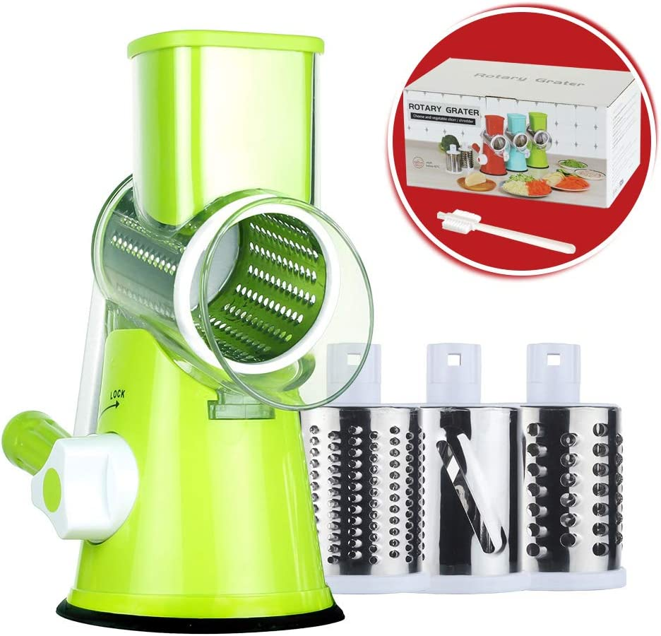Rotary Cheese Grater Round Mandoline Slicer with 3 Interchangeable Blades, Manual Vegetable Food Shredder