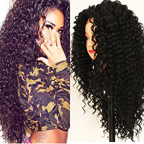 PlatinumHair black kinky curly wig synthetic lace front wigs heavy density for black women 16-26inchinch (Best Lace Wigs)