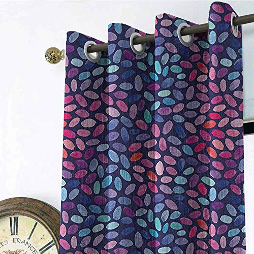 (Watercolor Black Out Window Gromets Curtain Drapes for Girls Room, Vibrant Colored Mosaic of Blooming Flower Petals Funky Artful Paintbrush Effect Fashion Darkening Curtains, Multicolor, W120 x L108)