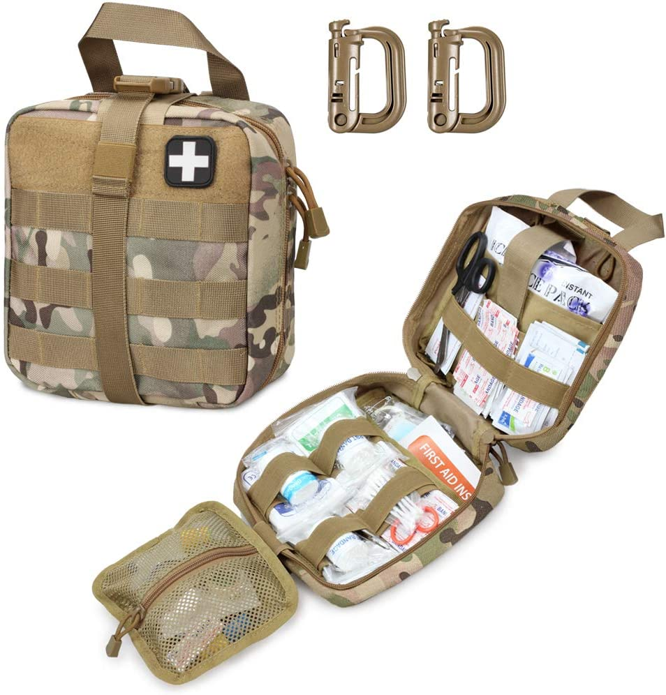 Livans Tactical First Aid Pouch, Molle EMT Pouches Rip-Away Military IFAK Medical Bag Outdoor Emergency Survival Kit Quick Release Design Include Red Cross Patch (CP Camo): Health & Personal Care