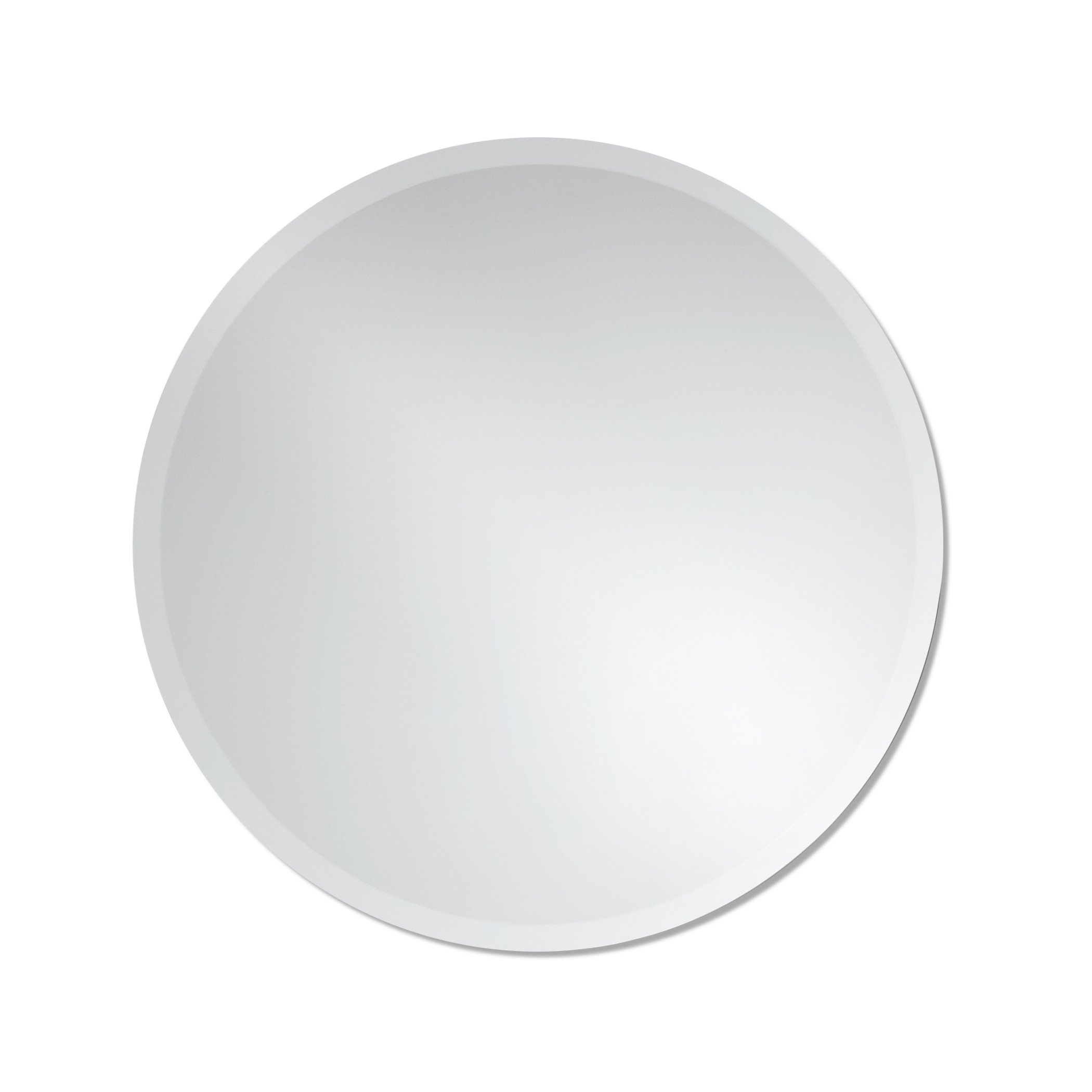 Round Frameless Wall Mirror | Bathroom, Vanity, Bedroom Mirror | 24-inch Diameter Circle | Beveled Edge