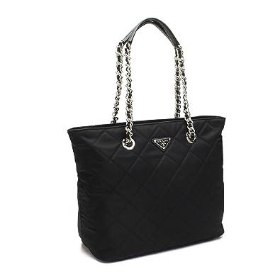 87fa64d2cf ... switzerland prada womens black quilted tessuto chain shoulder tote bag  1bg017 e2b02 1c339