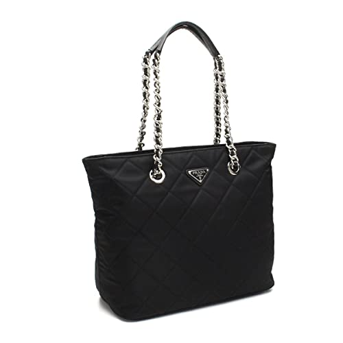 1d1f9954e052 ... switzerland prada womens black quilted tessuto chain shoulder tote bag  1bg017 8f843 0e5eb