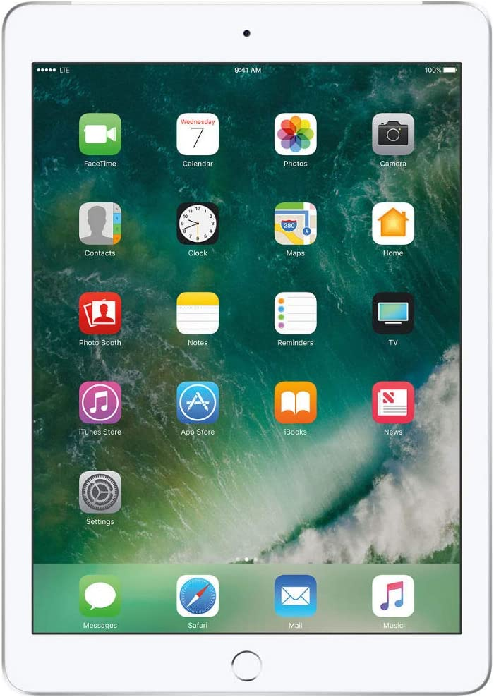 Apple 2017 iPad 32GB Wi-Fi + Cellular - Silver (MP252LL/A) Silver 32 GB (Renewed)
