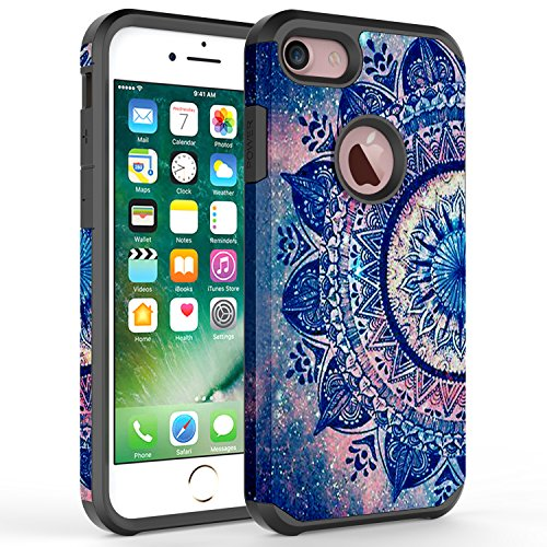 iPhone 7 Plus Case, iPhone 6 / 6S Plus Case, Rosebono Hybrid Dual Layer Shockproof Hard Cover Graphic Fashion Case for Apple iPhone 7 Plus - Mandala