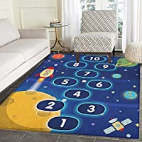 Kids Activity Non Slip Rugs Children Activity Hopscotch Game in Space Science Fiction Themed Cartoon Door Mats for inside Non Slip Backing 4'x5' Multicolor
