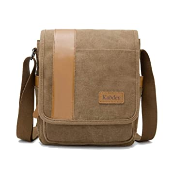 5a4e0b941ea Amazon.com   Mens Messenger Bag, Casual Canvas Shoulder Bags Multi Pockets Handbags  Men Purse Crossbody Bags for Travel Business (Brown)   Messenger Bags