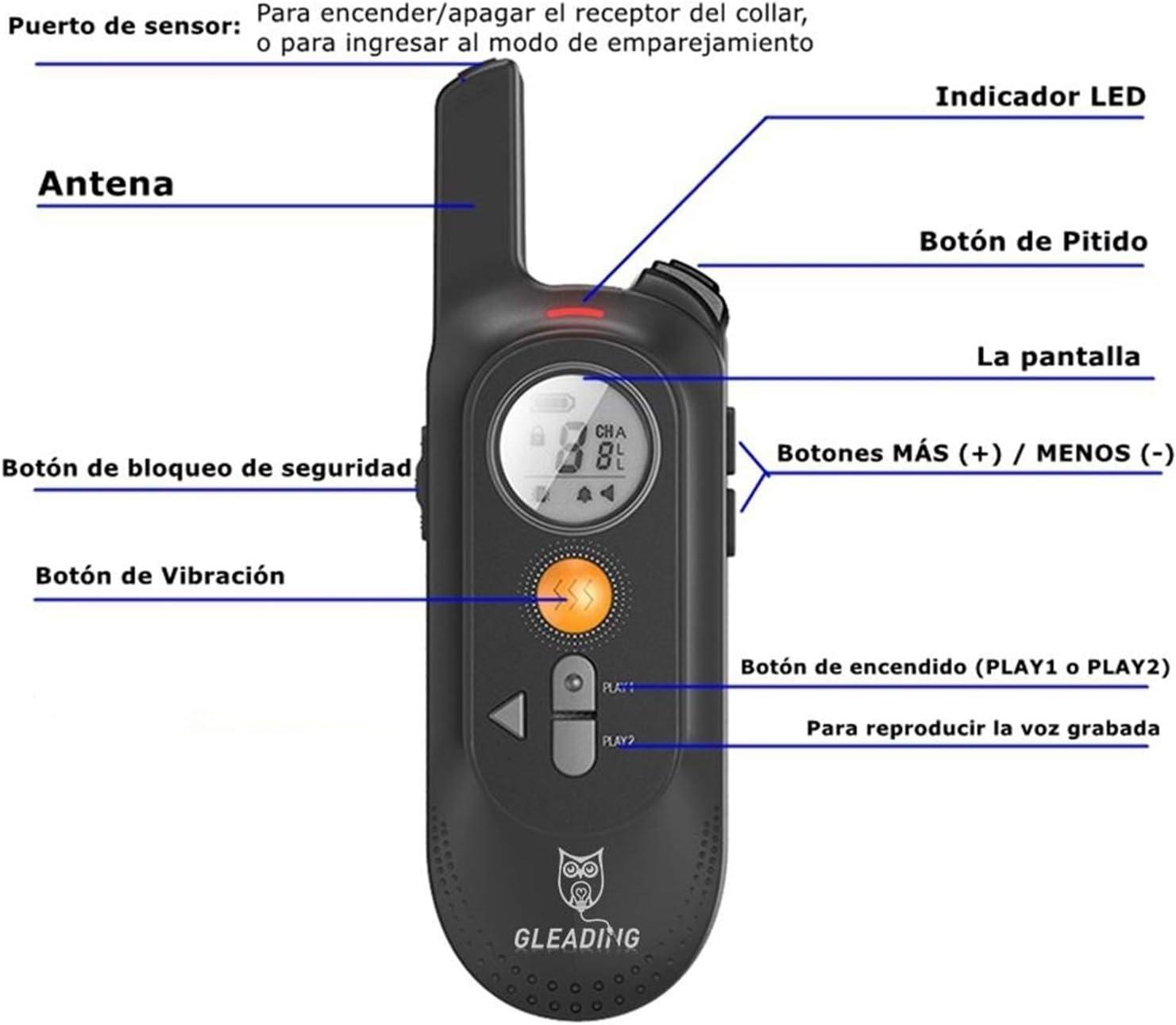GLEADING Collar de Adiestramiento para Perros Recargable con Rango de 700 Metros con Función de Grabación de Voz/Comando, Pitido de Alerta y Modo de ...