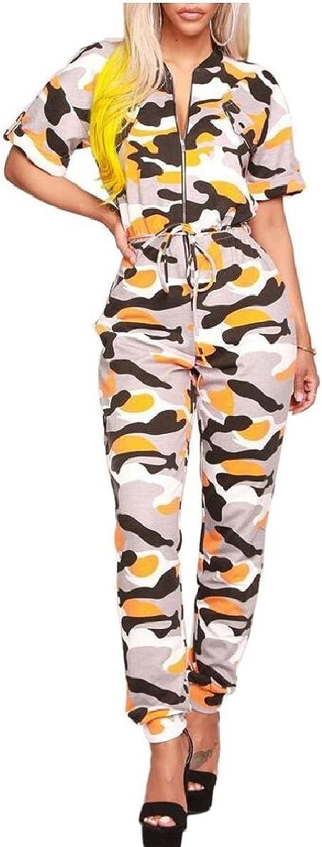 heymoney Womens Summer Camouflage Short Sleeve Zipper Party Jumpsuit Rompers