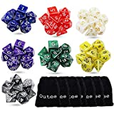 Outee 7 x 7 (49 Pieces) Polyhedral Dice and Dice 7 Colors 7-Die Series Dungeons and Dragons DND MTG RPG D20 D12 D10 D8 D6 D4 Game Dice Sets with Free Pouches