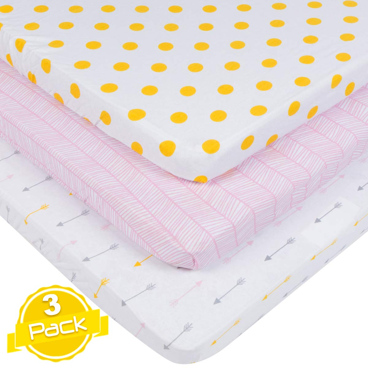 Pack n Play Playard Sheet Set | 3 Pack | 100% Super Soft Jersey Knit Cotton (150 GSM) | Portable Mini Crib Mattress Fitted Sheets for Boys & Girls by BaeBae Goods BaeBae & Company