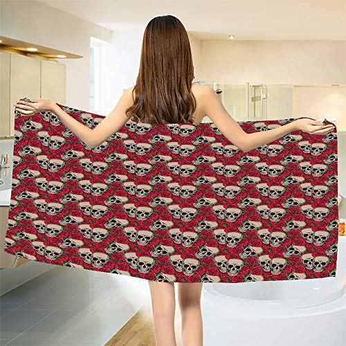 smallbeefly Rose Bath Towel Graphic Skulls and Red Rose Blossoms Halloween Inspired Retro Gothic Pattern Bathroom Towels Vermilion Tan Green Size: W 31.5