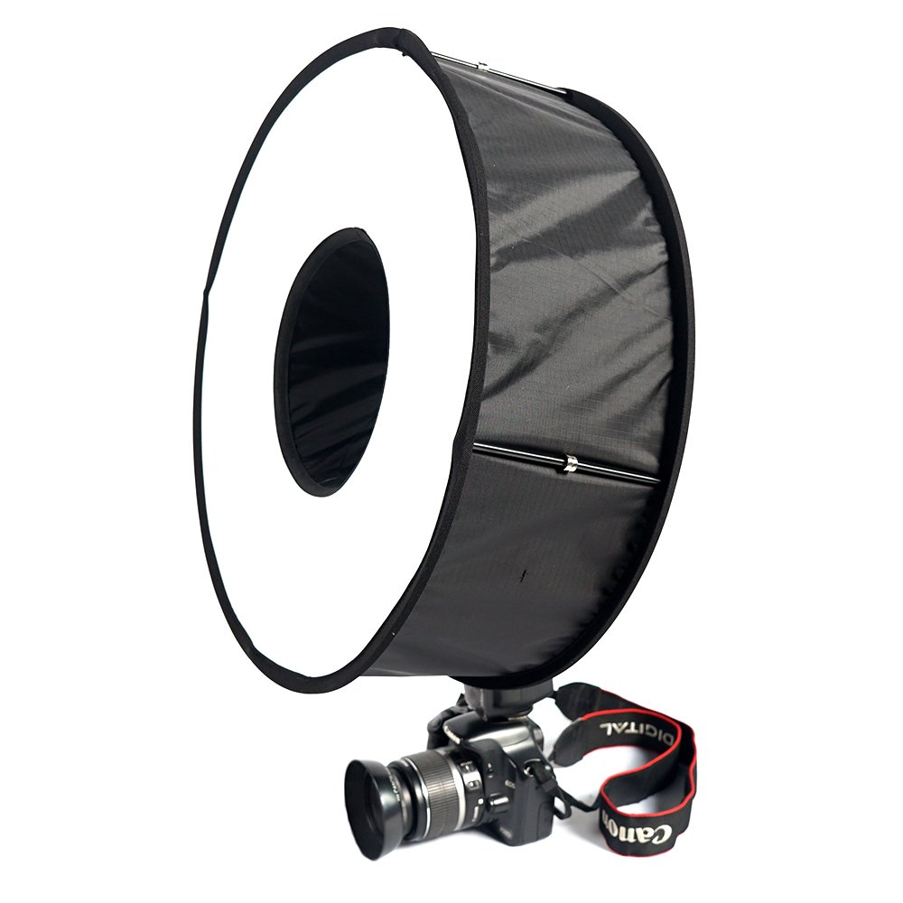 FOTOCREAT 18inch(45cm)Round Universal Collapsible Magnetic Ring Flash Diffuser Softbox for Macro and Portrait Photography